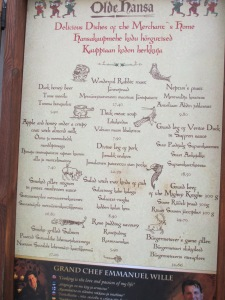 Menu of the Merchant's Dinner