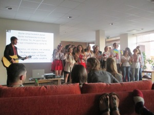 The Ukranian students formed a choir and sang to us too!