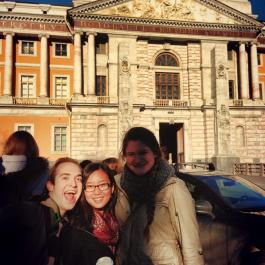 Study abroad students outside of a museum.