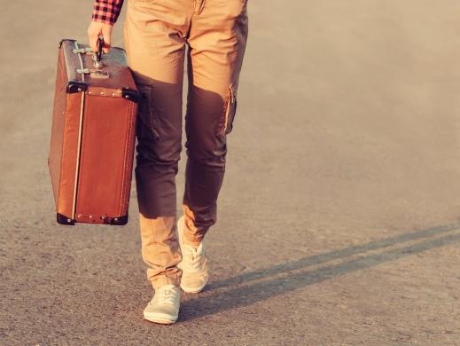 Traveler going